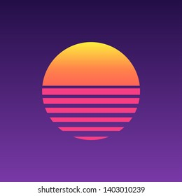 80s sunset retro neon background. 90s poster electro sun space vintage grid sunset icon.