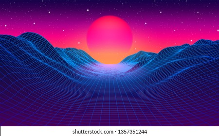 80s synthwave styled landscape with blue grid mountains and sun over arcade space planet canyon