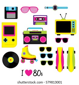 80S vector, Vintage retro 80's vector elements collection