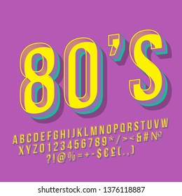 80s vintage 3d vector lettering. Retro bold font, typeface. Pop art stylized text. Old school style letters, numbers, symbols pack. 90s poster, banner, typography design. Purple color background