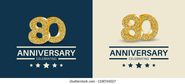 80th Anniversary celebrating cards template. 80 - year jubilee banner.