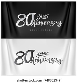 80th Anniversary Celebration Logotype. Happy Anniversary Calligraphy. Vector Illustration.