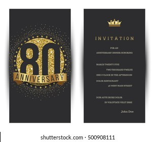 80th anniversary decorated greeting card template.