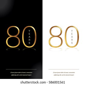 80th anniversary decorated greeting/invitation card template.