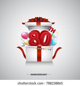 80th anniversary design with red number inside gift box isolated on white background for celebration event