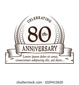 80th anniversary design template. Vector and illustration.