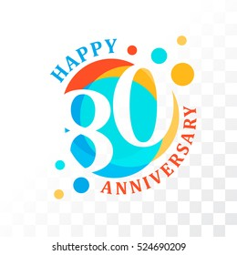 80th Anniversary emblem. Vector  template for birthday and jubilee