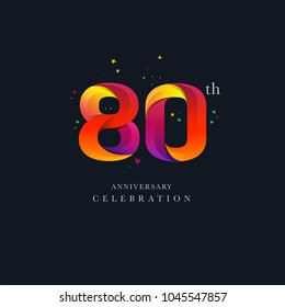 80th Anniversary Logo Design, Number or Digit 80 Icon Vector Template.