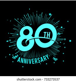 80th anniversary logo with firework background. glow in the dark design concept