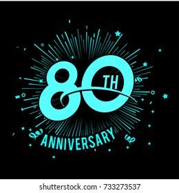 80th anniversary logo with firework background. glow in the dark design concept