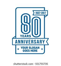 80th anniversary logo. Vector and illustration.