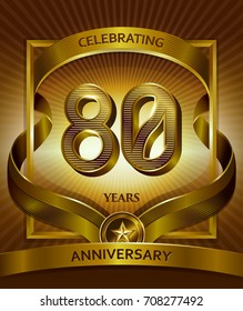 80th anniversary logo. Vector and illustration with ribbon shiny gold