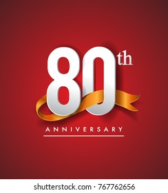 80th anniversary logotype with golden ribbon isolated on red elegance background, vector design for birthday celebration, greeting card and invitation card.