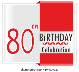 80th birthday, 80 year celebration card with vibrant colors and ribbon - vector illustration