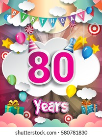 80th Birthday Celebration greeting card Design, with clouds and balloons. Vector elements for the celebration party of eighty years anniversary