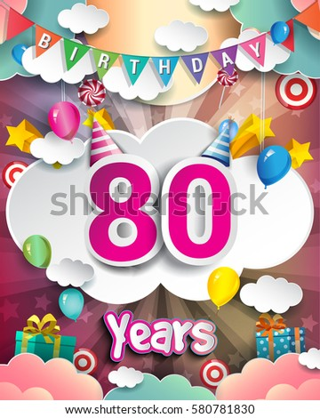 80th Birthday Celebration Greeting Card Design Stock Vector Royalty