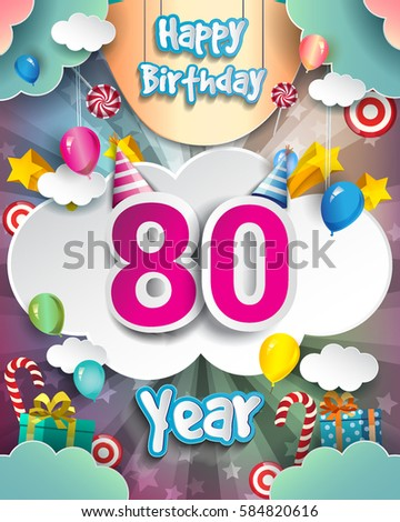 80th Birthday Celebration Greeting Card Design With Clouds And Balloons Vector Elements For The