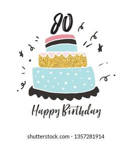 80th birthday hand drawn cake birthday card