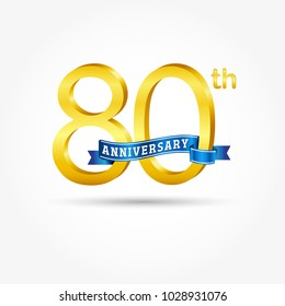 80th golden Anniversary logo with blue ribbon isolated on white background. 3d gold 80th Anniversary logo