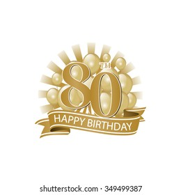 80th golden happy birthday logo with balloons and burst of light