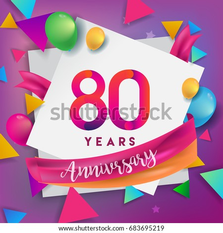 80th Years Anniversary Celebration Design Balloons And Ribbon Colorful Elements For Banner