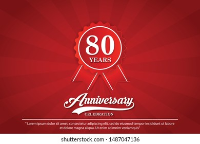 80th years anniversary celebration emblem. anniversary logo isolated with elegance of red ribbon. vector illustration template design for web, badges, celebration greeting card and invitation card