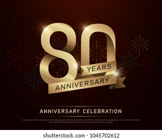 80th years anniversary celebration gold number and golden ribbons with fireworks on dark background. vector illustration