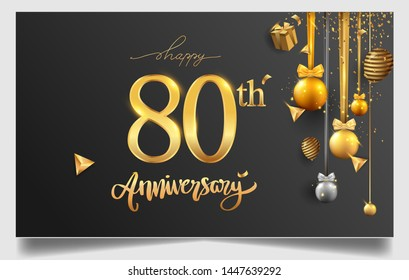 80th years anniversary design for greeting cards and invitation, with balloon, confetti and gift box, elegant design with gold and dark color, design template for birthday celebration.