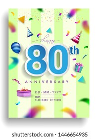 80th Years Anniversary invitation Design, with gift box and balloons, ribbon, Colorful Vector template elements for birthday celebration party.