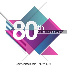 80th years anniversary logo with geometric, vector design birthday celebration isolated on white background.