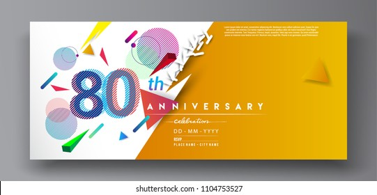 80th years anniversary logo, vector design birthday celebration with colorful geometric background and circles shape.