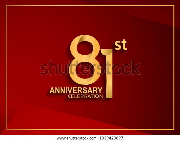 81st anniversary celebration logotype golden color isolated on red color