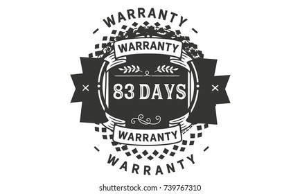 83 days warranty icon vintage rubber stamp guarantee