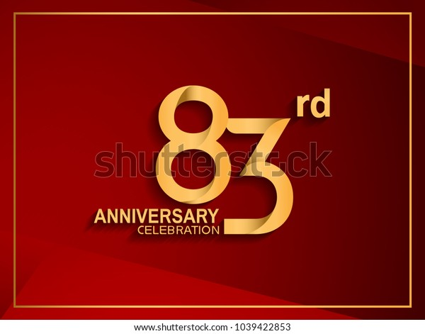 83rd anniversary celebration logotype golden color isolated on red color