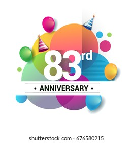 83rd years anniversary logo, vector design birthday celebration with colorful geometric, Circles and balloons isolated on white background.