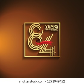 84 years anniversary golden color with square and red ribbon for celebration event