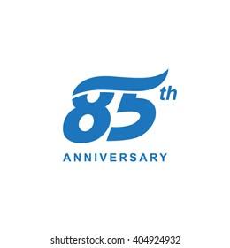 85 anniversary wave logo blue