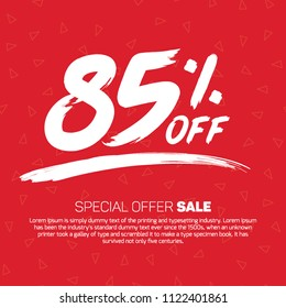 85 Percent off 85% Discount Sale Off big offer 85% Offer Sale Special Offer Tag Banner Advertising Promotional Poster  Design Vector Offers Mobile Fashion Electronics Home Appliances Books Jewelry
