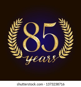 85 th years old logotype. Isolated elegant abstract nominee graphic seal of 85%. Congratulating celebrating decorating card design template. Round shape luxurious digits, up to -85 % percent off sign.