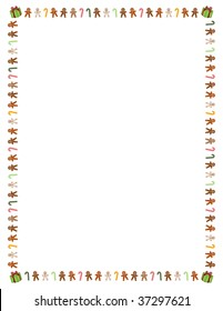 "8.5"" x 11"" (U.S. letter sized) border of colorful gingerbread men, candy canes and presents"