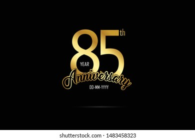 85 year anniversary celebration logotype. anniversary logo with golden Ribbons isolated on black backgrounds, for Birthdays, Invitation, Banner Card - Vector