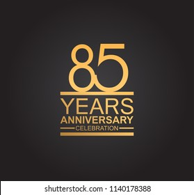 85 years anniversary celebration design with thin number shape golden color for special celebration event