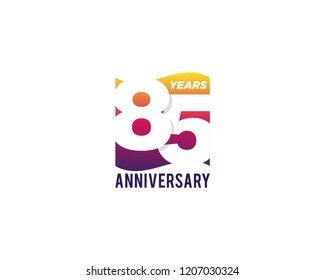 85 Years Anniversary Celebration Icon Vector Logo Design Template. Gradient Flag Style.