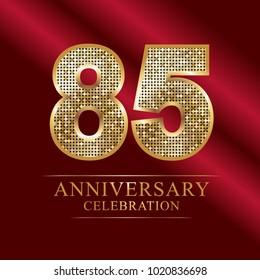 85 years anniversary celebration logotype red background.