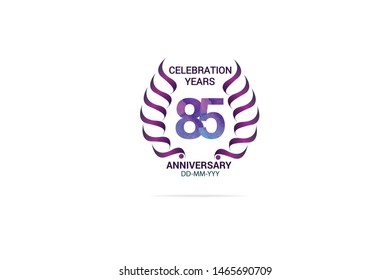 85 years anniversary celebration logotype. anniversary logo with watercolor purple and blue  isolated on white background -vector