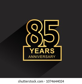 85 years anniversary design line style with square golden color for anniversary celebration event. isolated with black background
