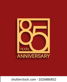 85 years anniversary design logotype golden color in square isolated on red background for celebration event
