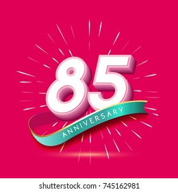 85 years anniversary logo celebration with firework and ribbon