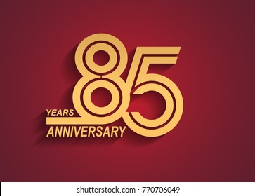 85 years anniversary logotype with linked number golden color isolated on red background for celebration event