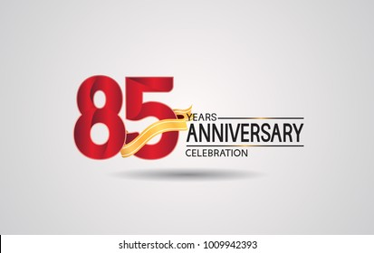85 years anniversary logotype with red color and golden ribbon isolated on white background for celebration event